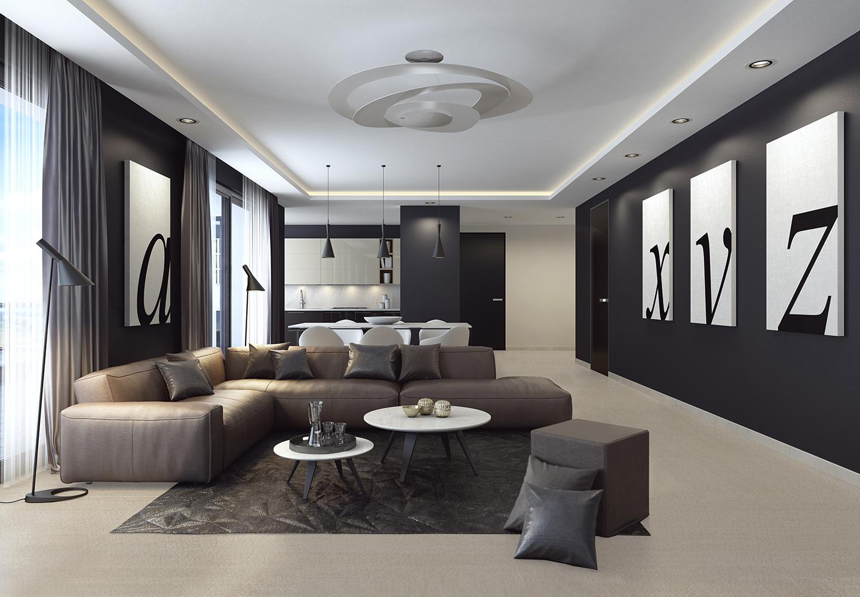 Wohnzimmer - Fugenlose Steinteppiche